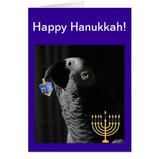 African Grey Parrot Happy Hanukkah Greeting Card
