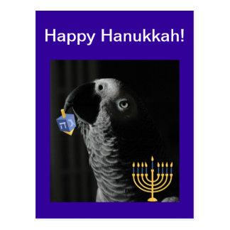 African Grey Parrot Happy Hanukkah Postcard