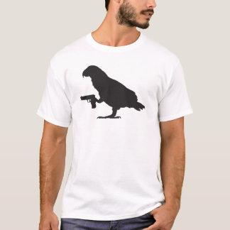 African Grey Parrot holding a gun T Shirt
