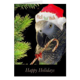 African Grey Parrot Holiday Glitter Card