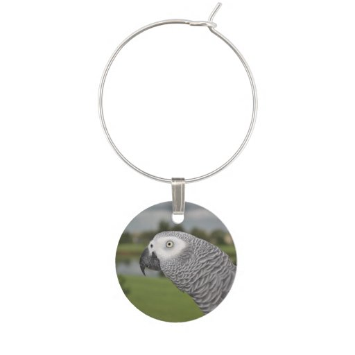 African Grey Parrot Lake View Wine Glass Charm