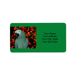 African Grey Parrot Painting with Christmas Tree Address Label