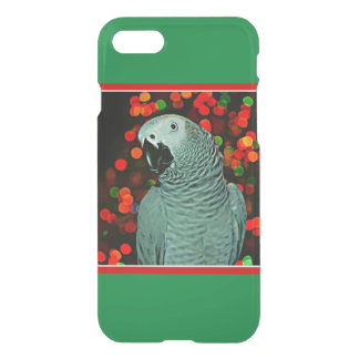 African Grey Parrot Painting with Christmas Tree iPhone 7 Case