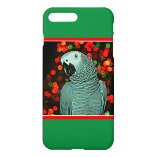 African Grey Parrot Painting with Christmas Tree iPhone 7 Plus Case