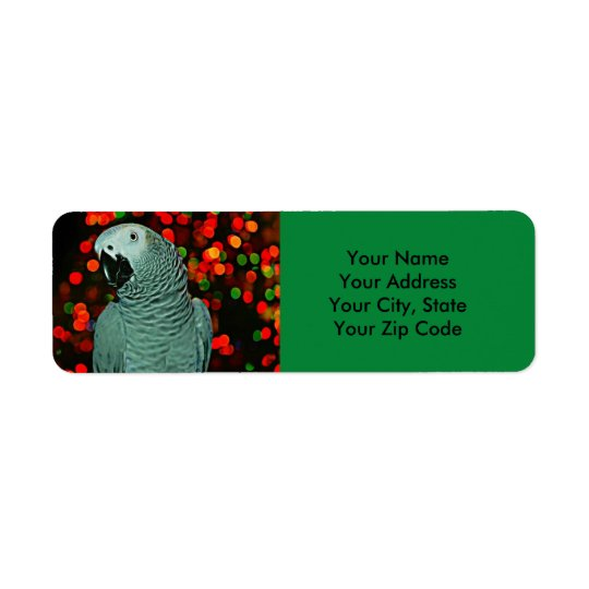 African Grey Parrot Painting with Christmas Tree Return Address Label