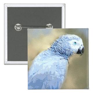 African Grey Parrot Portrait Buttons