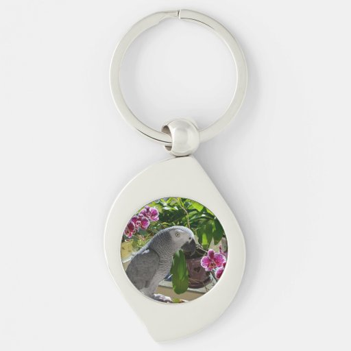 African Grey Parrot Purple Flowers Keychains