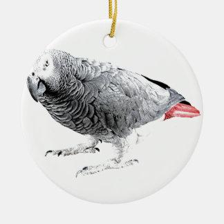 """African Grey"" Parrot Round Ceramic Decoration"