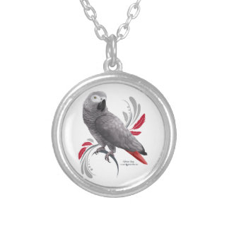 African Grey Parrot Silver Plated Necklace