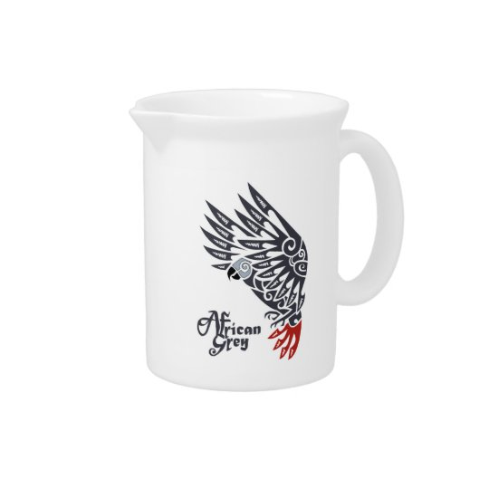 African grey parrot tribal tattoo drink pitcher