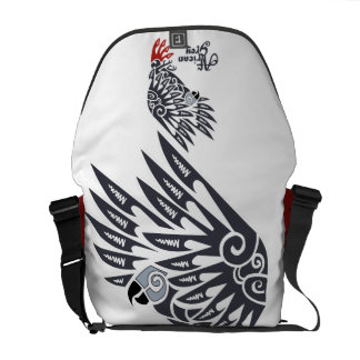 African grey parrot tribal tattoo messenger bag