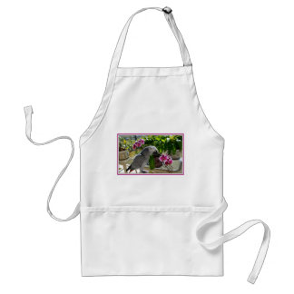 African Grey Parrot with Orchids Aprons