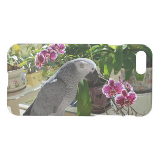 African Grey Parrot with Orchids iPhone 7 Case