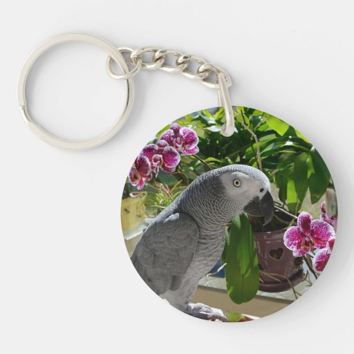 African Grey Parrot with Purple Flowers Key Chain