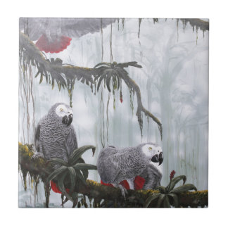 African Grey Parrots flying free Ceramic Tile