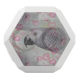 African Grey Puffy Hearts White Boombot Rex Bluetooth Speaker