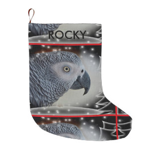 African Grey Snowy Christmas Large Christmas Stocking