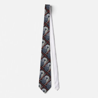 African Grey Snowy Christmas Tie