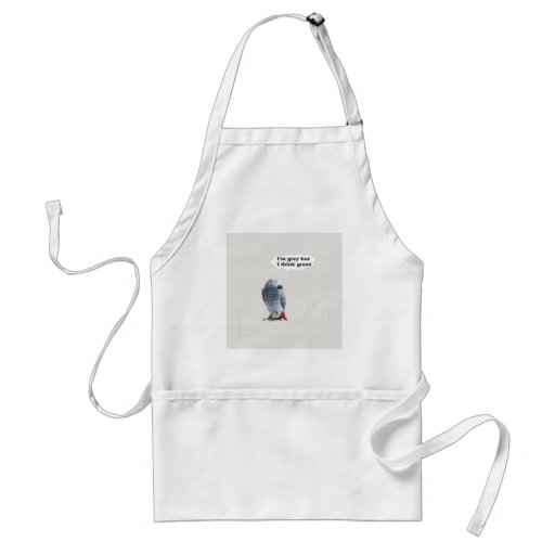 African Grey Thinks Green Aprons