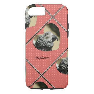 African Grey Vintage Hearts iPhone 7 Case