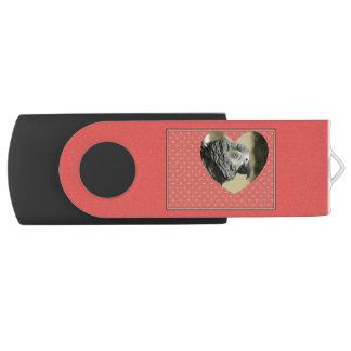 African Grey Vintage Hearts Swivel USB 3.0 Flash Drive