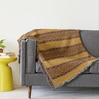 african hand-drawn ethnic pattern throw blanket