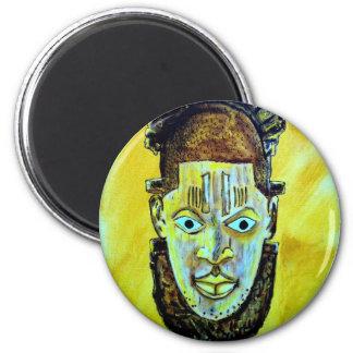 African icon: Benin Queen mask 6 Cm Round Magnet