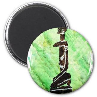 African icon: Dogon (Mali) 6 Cm Round Magnet