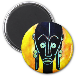 African icon: Fang mask (Gabon) 6 Cm Round Magnet