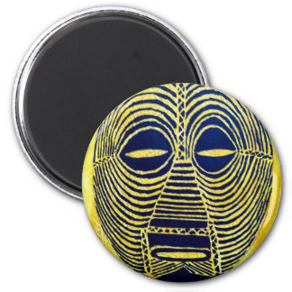African icon: Luba mask (Congo) 6 Cm Round Magnet