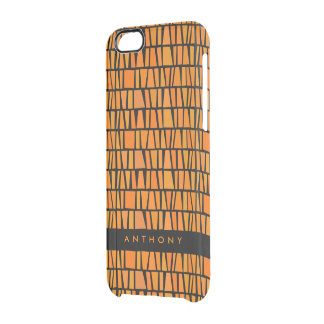 African Inspired Orange Domino Pattern Clear iPhone 6/6S Case