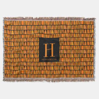 African Inspired Orange Domino Pattern Monogram Throw Blanket