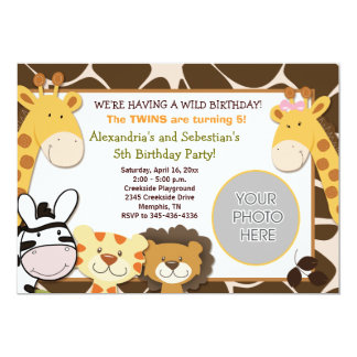 African Jungle Animals *PHOTO* Birthday 5x7 13 Cm X 18 Cm Invitation Card