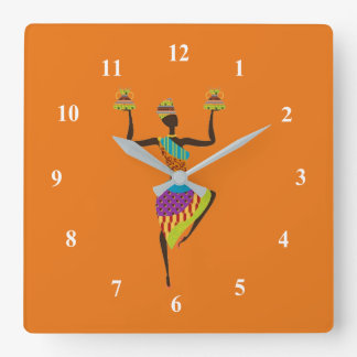 African lady tribal art square wall clock