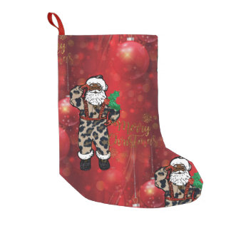 african leopard santa christmas stocking