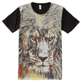 African Lion Abstract Watercolor Art All-Over Print T-Shirt