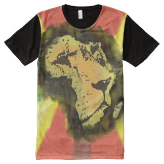 African Lion All-Over Printed Panel T-Shirt. All-Over Print T-Shirt