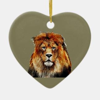 African Lion Ceramic Ornament