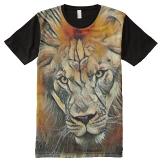 African Lion Colorful Charcoal Medium Art All-Over Print T-Shirt