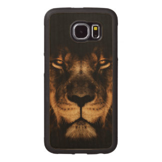 African Lion Face Art Wood Phone Case