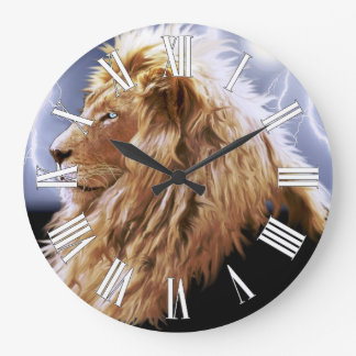 African Lion & Lightning Big Cat-Lover Wall Clock