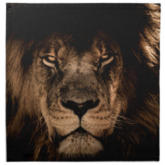 african lion mane close eyes napkin