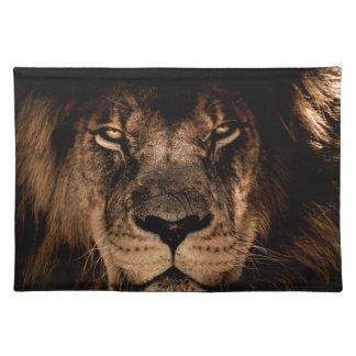 african lion mane close eyes placemat