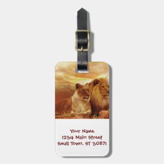 African lions - safari - wildlife luggage tag