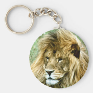 African male Lion Basic Round Button Key Ring