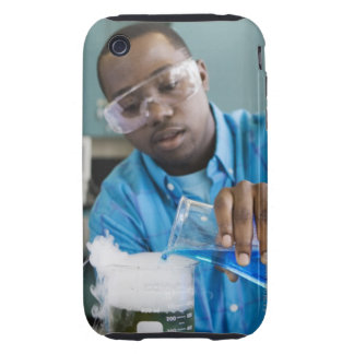African man performing experiment in chemistry iPhone 3 tough cover