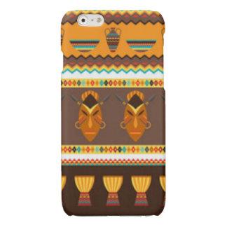 African Mask Drum Pattern Print Design