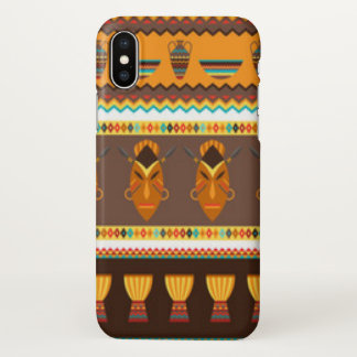 African Mask Drum Pattern Print Design iPhone X Case