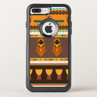 African Mask Drum Pattern Print Design OtterBox Commuter iPhone 8 Plus/7 Plus Case