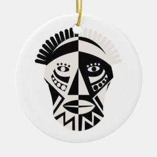 African mask primitive folk art round ceramic decoration